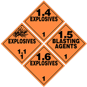 Class 1 EXPLOSIVES Placards