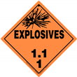 Class 1 EXPLOSIVES <br/>Div. 1.1 Removable Vinyl <br/>Worded Placard