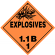 Class 1 EXPLOSIVES <br/>Div. 1.1B Removable Vinyl <br/>Worded Placard