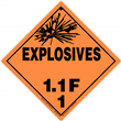 Class 1 EXPLOSIVES <br/>Div. 1.1F Removable Vinyl <br/>Worded Placard