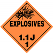 Class 1 EXPLOSIVES <br/>Div. 1.1J Removable Vinyl <br/>Worded Placard