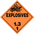 Class 1 EXPLOSIVES <br/>Div. 1.3 Removable Vinyl <br/>Worded Placard