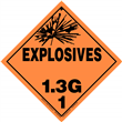 Class 1 EXPLOSIVES <br/>Div. 1.3G Removable Vinyl <br/>Worded Placard