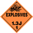 Class 1 EXPLOSIVES <br/>Div. 1.3J Removable Vinyl <br/>Worded Placard