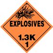 Class 1 EXPLOSIVES <br/>Div. 1.3K Removable Vinyl <br/>Worded Placard
