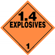 Class 1 EXPLOSIVES <br/>Div. 1.4 Removable Vinyl <br/>Worded Placard