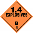 Class 1 EXPLOSIVES <br/>Div. 1.4B Removable Vinyl <br/>Worded Placard