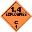 Class 1 EXPLOSIVES <br/>Div. 1.4C Removable Vinyl <br/>Worded Placard