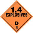 Class 1 EXPLOSIVES <br/>Div. 1.4D Removable Vinyl <br/>Worded Placard