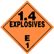 Class 1 EXPLOSIVES <br/>Div. 1.4E Removable Vinyl <br/>Worded Placard