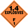Class 1 EXPLOSIVES <br/>Div. 1.4F Removable Vinyl <br/>Worded Placard