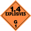 Class 1 EXPLOSIVES <br/>Div. 1.4G Removable Vinyl <br/>Worded Placard