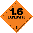 Class 1 EXPLOSIVES <br/>Div. 1.6 Removable Vinyl <br/>Worded Placard