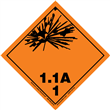 Class 1 EXPLOSIVE <br/>Div. 1.1A PVC-Free Poly <br/>Worded Label <br/>500/roll