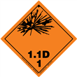 Class 1 EXPLOSIVE <br/>Div. 1.1D PVC-Free Poly <br/>Worded Label <br/>500/roll