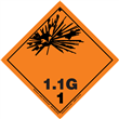 Class 1 EXPLOSIVE <br/>Div. 1.1G PVC-Free Poly <br/>Worded Label <br/>500/roll
