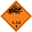 Class 1 EXPLOSIVE <br/>Div. 1.1J PVC-Free Poly <br/>Worded Label <br/>500/roll
