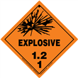 Class 1 EXPLOSIVE <br/>Div. 1.2 PVC-Free Poly <br/>Worded Label <br/>500/roll