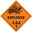 Class 1 EXPLOSIVE <br/>Div. 1.2J PVC-Free Poly <br/>Worded Label <br/>500/roll
