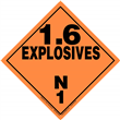 Class 1 EXPLOSIVES <br/>Div. 1.6N Removable Vinyl <br/>Worded Placard