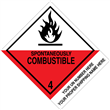 "CUSTOM 4"" x 5"" <br/>Class 4 SPONTANEOUSLY COMBUSTIBLE <br/>Proper Shipping Name Label 500/roll"