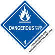 "CUSTOM 4"" x 5"" <br/> Class 4 DANGEROUS WHEN WET <br/>Proper Shipping Name Label <br/>500/roll"