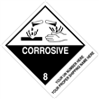 "CUSTOM 4"" x 5"" <br/>Class 8 CORROSIVE <br/>Proper Shipping Name Label <br/>500/roll"
