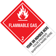 "CUSTOM 4"" x 6"" <br/>Class 2 FLAMMABLE GAS <br/>Proper Shipping Name Label <br/>500/roll"