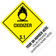 "CUSTOM 4"" x 6"" <br/>Class 5 OXIDIZER <br/>Proper Shipping Name Label <br/>500/roll"
