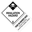 "CUSTOM 4"" x 6"" <br/>Class 6 INHALATION HAZARD <br/>Proper Shipping Name Label <br/>500/roll"