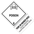 "CUSTOM 4"" x 6"" <br/>Class 6 POISON <br/>Proper Shipping Name Label <br/>500/roll"