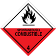 Class 4 <br/>SPONTANEOUSLY COMBUSTIBLE <br/>Worded Label <br/>500/roll
