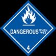 Class 4 <br/>DANGEROUS WHEN WET <br/>Worded Label <br/>500/roll