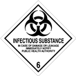 Class 6 <br/>INFECTIOUS SUBSTANCE <br/>Worded Label <br/>500/roll