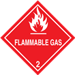 Class 2 <br/>FLAMMABLE GAS <br/>Worded Label <br/>500/roll