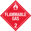 Class 2 <br/>FLAMMABLE GAS <br/>Worded Placard