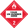Class 2 <br/>FLAMMABLE GAS <br/>4-Digit Placard