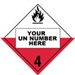 Class 4 <br/>SPONTANEOUSLY COMBUSTIBLE <br/>4-Digit Placard