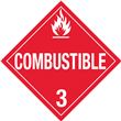 Class 3 <br/> COMBUSTIBLE LIQUID <br/>Worded Placard