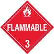 Class 3 <br/> FLAMMABLE LIQUID <br/> Worded Placard