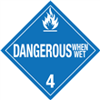 Class 4 <br/>DANGEROUS WHEN WET <br/> Worded Placard