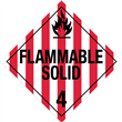 Class 4 <br/>FLAMMABLE SOLID <br/>Worded Placard