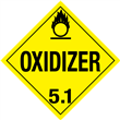 Class 5 <br/>OXIDIZER <br/>Worded Placard