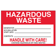 "Hazardous Waste <br/>Accumulation Label <br/>Paper w/perm adhesive <br/>6"" x 4"" Label, 500/roll"