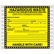 "Black Border Hazardous Waste Label <br/>PVC-free Poly w/perm adhesive, <br/>6"" x 6"", pinfeed, 1,000/bx"