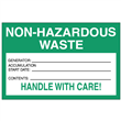 "Non-Hazardous <br/>Waste Accumulation Label <br/>Paper w/perm adhesive <br/>6"" x 4"" Label, 500/roll"