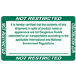 "Not Restricted for Air Transport <br/>5"" x 3"" Label <br/>Glossy Paper, 500/roll"