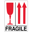 "FRAGILE Glass w/Up Arrows Label <br/>3"" x 4.125"", Heavyweight Paper <br/>500/roll"