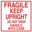 """FRAGILE KEEP UPRIGHT Label <br/>4"""" x 4"""", Heavyweight Gloss Paper <br/>500/roll"""